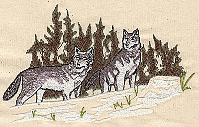 Embroidery Design: Wolves and scenery 7.00w X 4.38h