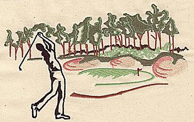 Embroidery Design: Golfer's scene 6.88w X 4.25h