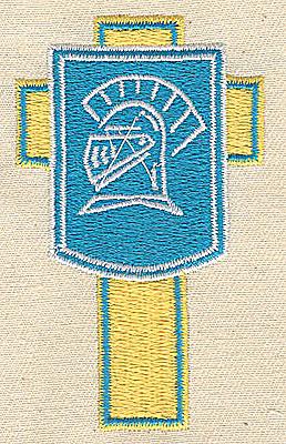 Embroidery Design: Cross with shield Trojan helmet 1.81w X 3.00h