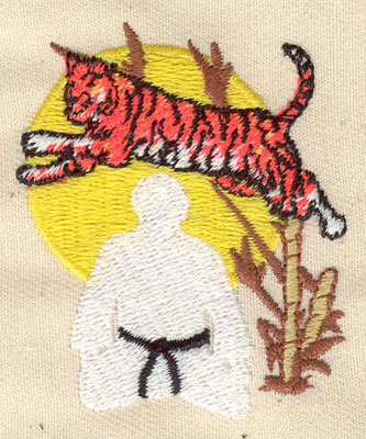 Embroidery Design: Martial arts with tiger 1.81w X 2.19h