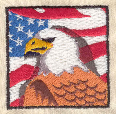 Embroidery Design: American eagle and flag 2.00w X 2.00h