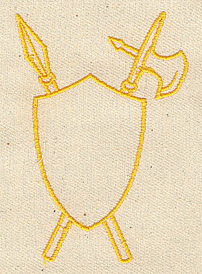 Embroidery Design: Shield with spear and axe 1.06w X 3.13h