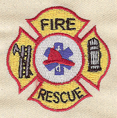 Embroidery Design: Fire Rescue 2.06w X 2.06h