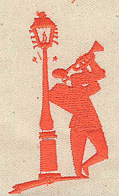 Embroidery Design: Trumpeter leaning on light post 1.63w X 2.94h