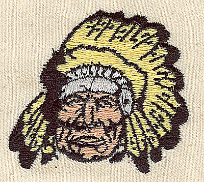 Embroidery Design: Indian chief 2.19w X 1.94h