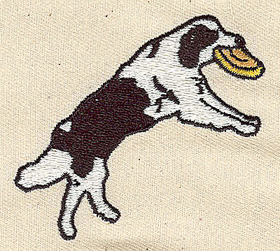 Embroidery Design: Dog catching frisbee 2.44w X 2.19h