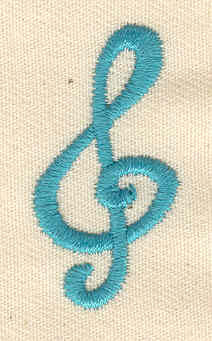 Embroidery Design: Treble Clef 0.75w X 1.44h
