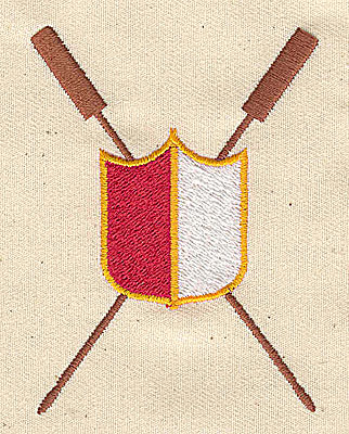 Embroidery Design: Shield with life preserver symbols 2.38w X 3.19h
