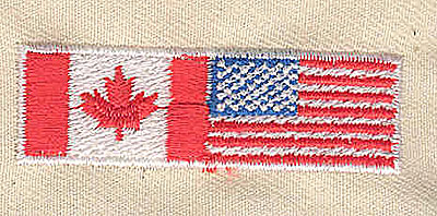 Embroidery Design: Canada and USA flag 2.06w X 0.63h