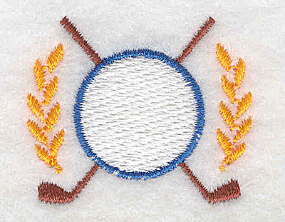 Embroidery Design: Crossed golf clubs and laurel leaves 1.56w X 1.31h