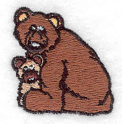 Embroidery Design: Bear with cub 1.56w X 1.56h