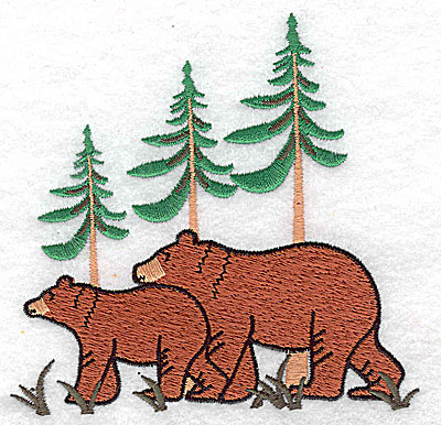 Embroidery Design: Bears with forest scenery 4.25w X 4.06h