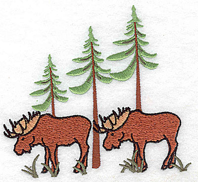Embroidery Design: Moose with forest scenery 4.56w X 4.00h