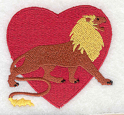 Embroidery Design: Heart with lion 2.69w X 2.63h