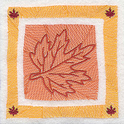 Embroidery Design: Maple leaf in border 4.38w X 4.38h