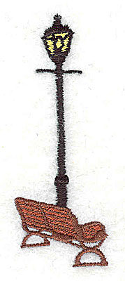 Embroidery Design: Lamp post with bench 0.94w X 2.63h