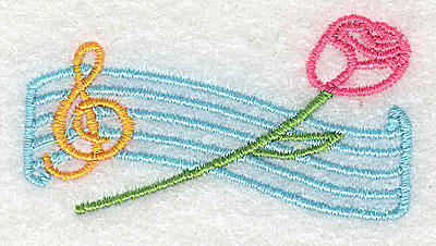 Embroidery Design: Musical bars treble clef and rose 2.38w X 1.25h