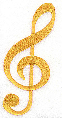 Embroidery Design: Treble Clef 2.19w X 4.88h