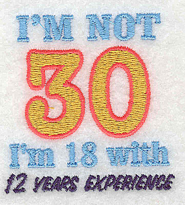 Embroidery Design: I'm not 30 2.19w X 2.31h
