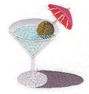 Embroidery Design: Martini with olive 2.00W x 2.19H