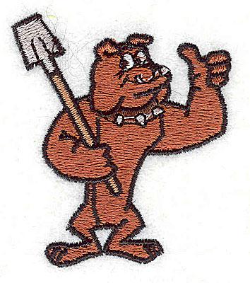 Embroidery Design: Bulldog with shovel2.25H x 1.94w