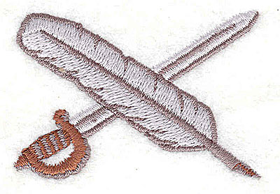 Embroidery Design: Sword and feather 2.31w X 1.56h