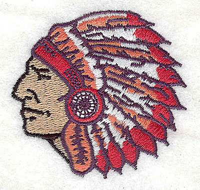 Embroidery Design: Indian head2.25w X 2.13h
