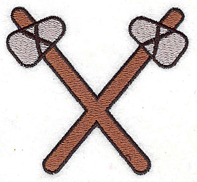 Embroidery Design: Crossed tomahawks 2.81w X 2.56h