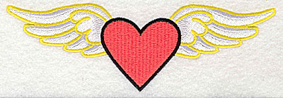 Embroidery Design: Heart with wings large 6.63w X 2.13h