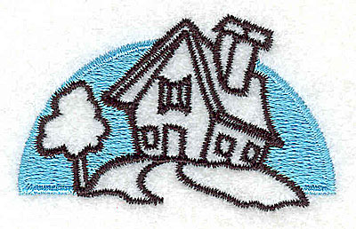 Embroidery Design: House on a hill 2.19w X 1.33h