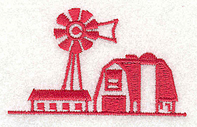 Embroidery Design: Farm with weather vane 2.56w X 1.56h