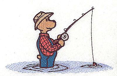 Embroidery Design: Bear fishing 4.69w X 2.88h