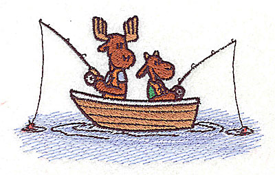 Embroidery Design: Moose in fishing boat 4.44w X 2.63h