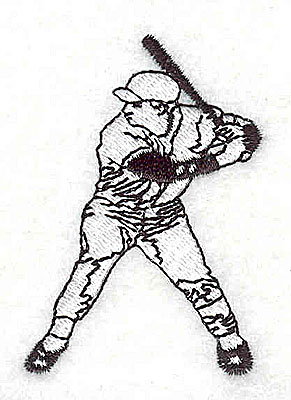 Embroidery Design: Baseball player 1.69w X 2.44h