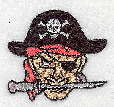 Embroidery Design: Pirate with cutlass 2.44w X 2.25h