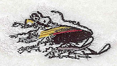 Embroidery Design: Snowmobile rider 3.31w X 1.44h