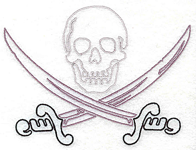 Embroidery Design: Pirate skull and crossed swords 5.25w X 3.94h