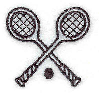 Embroidery Design: Crossed tennis raquets 1.62w X 1.56h