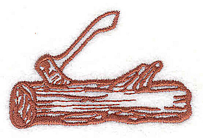 Embroidery Design: Axe in log 2.44w X 1.56h