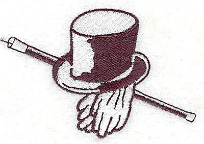 Embroidery Design: Top hat gloves and walking stick 3.06w X 2.06h