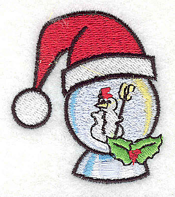 Embroidery Design: Snow globe with snowman 2.00w X 2.25h