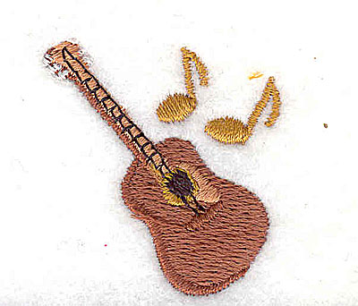 Embroidery Design: Guitar with musical notes 1.31w X 1.38h