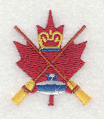 Embroidery Design: Leaf with crossed curling brooms and stone 1.25w X 1.50h