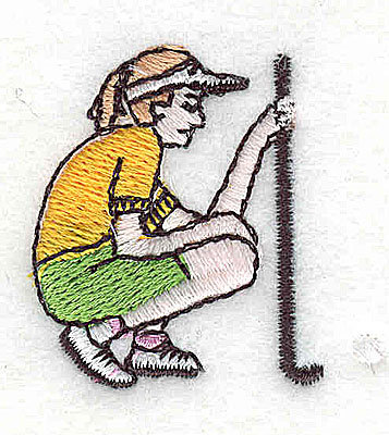 Embroidery Design: Female golfer with club 1.44w X 1.44h