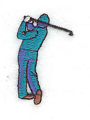 Embroidery Design: Golfer swinging club 0.94w X 1.50h
