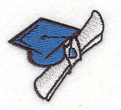 Embroidery Design: Graduation cap and diploma 1.56w X 1.50h