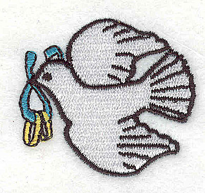 Embroidery Design: Dove with wedding rings 1.63w X 1.50h
