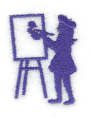 Embroidery Design: Artist at easel 1.06w X 1.44h