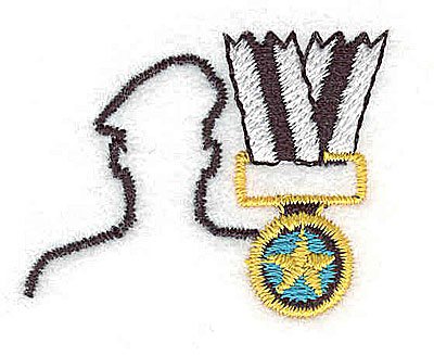Embroidery Design: Soldier with medal 1.56w X 1.19h