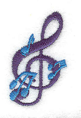 Embroidery Design: Treble clef with musical notes 0.88w X 1.50h
